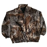 Vintage Fuda International SILK Leopard Print Jacket VERSAUCY Windbreaker 3X