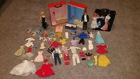 Vintage 60's Bubblecut Barbie Midge Ken Dolls w/ Cases & Accessories Japan