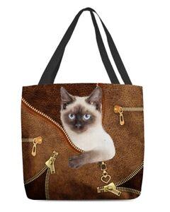 Siamese Cat Canvas Tote Bag Shoulder Bag, Meezer Cat Tote Bag, Animal Tote Bag