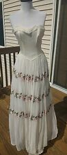 Formal Vintage 1960s/1970s White Gown Maxi Dress w/ Floral Embroidery