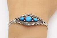 NAVAJO 925 Sterling Silver - Vintage Turquoise Petite Cuff Bracelet - B7616