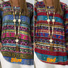 UK 8-24 Womens Long Sleeve Tops Loose Baggy Plain Ethnic Shirt Blouses Basic Tee