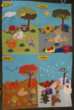 Four Seasons Interactive Fabric Wall Chart Spring Fall Winter Summer New PreK +