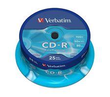 25 CD Verbatim -R 700 MB 52x CD-R ORIGINALES 10 20 50 100 200 DVD CDs Tarrina