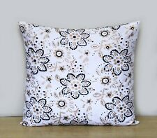 "16"" Indian Black Gold Floral Hand Block Printed Cushion Cover Pillow Case Covers"