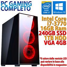 PC COMPUTER DA GIOCO GAMING CASE VETRO LED / QUAD CORE i7 16GB 240GB 1TB RX 550