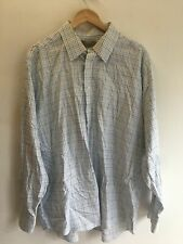 Mens Long Sleeve White Blue Check Collared Shirt by M&S TAILORING - Size 46
