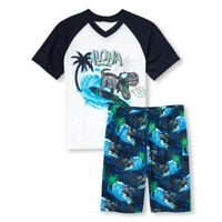 NWT The Childrens Place Surfing Dinosaur Boys Short Sleeve Pajamas Set