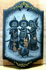 ORIGINAL HAND PAINTED RYTA BLACK CAT PAINTING HALLOWEEN Antique Style Portrait