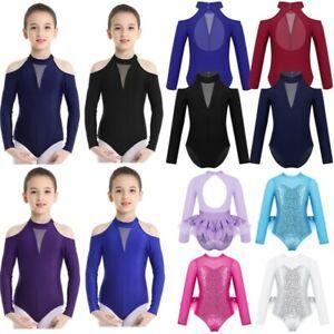 Kids Girls Ballet Jumpsuit Gymnastics Long Sleeves Leotard Dance Bodysuit Wear