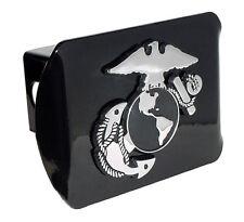 usmc marine corps insignia chrome black military trailer hitch cover usa made