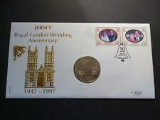 Jersey 1997 Royal Golden Wedding Anniversary coin cover pnc featuring £5 coin.