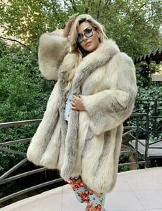 3XL Marble  Fox  Fur Jacket