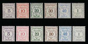 GEOVI ZANZIBAR 36/62 postage due  sets fresh lmm  cat £60+ both ordinary/ chalky