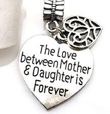 Mothers Day Silver Mother Daughter Charm For Big Hole European Snake Bracelet