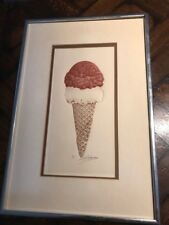 Vintage art Engraving ETCHING art print of ICE CREAM CONE signed & #'d * modern