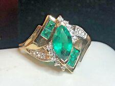 VINTAGE ESTATE 10K YELLOW  GOLD EMERALD DIAMOND RING DESIGNER  SIGNED ZM