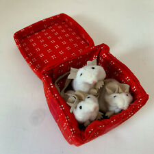 New listing Folkmanis Mice Puppet Three White Mouse Red Gift Box Present Hand Bow Plush Toy