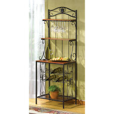 Wrought Iron Bakers Style Wine and Glass Rack Set