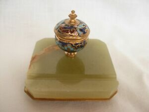ANTIQUE FRENCH ENAMELED GILT BRONZE,GREEN ONYX INKWELL,LATE 19th CENTURY
