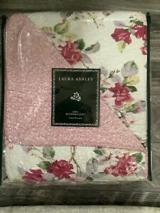 Laura Ashley LIDIA King Size Quilt Brand ROSE FLORAL cottage New