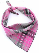 Pink Tartan Puppy Dog Bandana - Tie on Classic Scarf