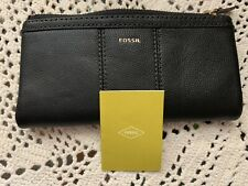 FOSSIL ELLA Genuine Leather Zipper Top Wallet  Bifold Black  Clutch New NWT $70