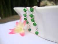 GREEN Crystal Silver Marquise Dangle Earrings Artisan Wire USA HANDMADE