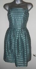 H&M green lined sheer stripe overlay dress, size m fit a 10 nwt