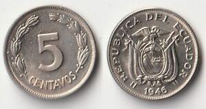 1946 Ecuador 5 centavos coin