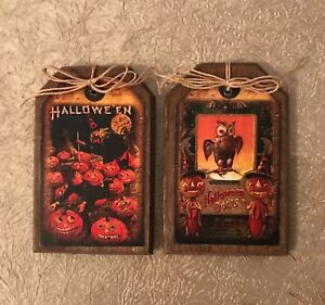 5 HANDCRAFTED Wooden Halloween Ornaments/Hang Tags/Bowl Fillers SETh10