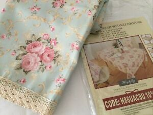 """NEW Victorian Floral Oblong Tablecloth w/Crochet Lace Edge 55""""x87"""" NONSMOKER"""