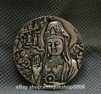 45MM China Miao Silver Bodhisattva Samantabhadra Guan Yin Buddha Amulet Pendant