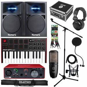 Home Recording Scarlett Solo MIDI USB Studio Bundle Package w Software, Akai MPK