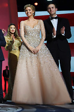 Ivanka Trump Style Inaugural Ball Sequined Champagne Tulle Dress (retail £880)