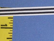 "3/8"" Stripe Grosgrain Ribbon White Black Millinery Ribbed Ribbon 5 yds #RB10"