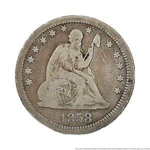 1858 Seated Liberty Quarter Dollar Coin