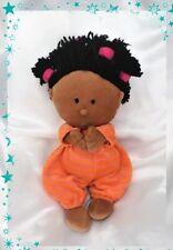 Doudou Poupée Chiffon Bébé Métisse Pyjama Orange Rayures Rose Lilliputiens