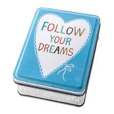 Follow your dreams Blue Storage tin.Metal Tin. Gift. Home. Trinket box