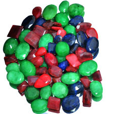 531 Ct Natural Red Ruby Green Emerald & Blue Sapphire Mix Gems Wholesale~67 Pcs