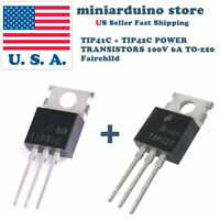 10 pcs - 5 x TIP41C and 5 x TIP42C POWER TRANSISTOR 100V 6A TO-220 Fairchild