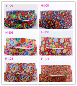 5-10Yards Candy Printed Grosgrain Ribbon for Gifts Wrapping Crafts