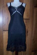 Vintage 60s Black empire waist lace bust  & hem slip lingerie S/m