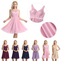 Womens Lace Evening Party Dress Bridesmaid Formal Cocktail Club Short Mini Dress