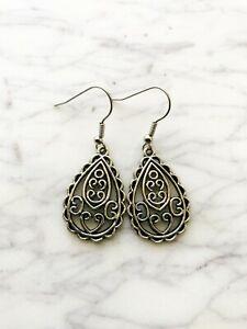 Boho Love Earrings Tibetan Silver