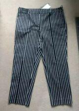 Next Tailoring Black Capri Green & White  Stripe Trousers 16 Long New RRP £30