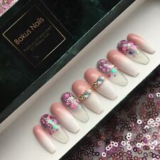 Hand Painted False Nails Pink And White Baby Boomer Ombre Glitter Bling Coffin