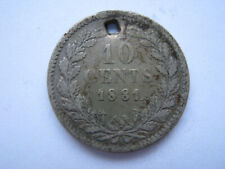 Netherlands 1881 silver 10 Cents F holed
