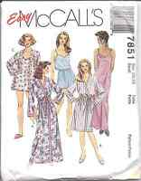 7851 UNCUT Vintage McCalls SEWING Pattern Misses Sleepwear Robe Tunic Camisole