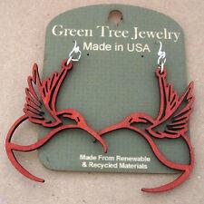 HUMMINGBIRD Green Tree Jewel CHERRY RED laser-cut wood earrings Made-in-USA 1269